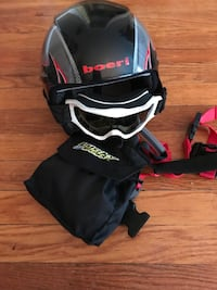 Black and gray boeri helmet with goggles & lucky bums child safety harness Union, 13760