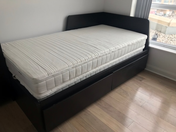 new concept 5c8e0 ee5dd Ikea/twin bed frame/ pulls out to king/ 2 mattresses and 2 mattress toppers  included.