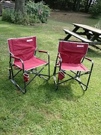 two red and black camping chairs Darlington, 21034
