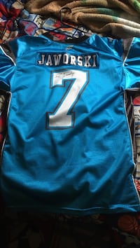 blue and white Jaworski 7 jersey
