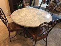 Round brown granite  table with four chairs dining set Las Vegas, 89131
