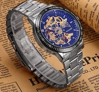 Stainless Steel Perpetual Motion Skeleton Gear Watch Vancouver