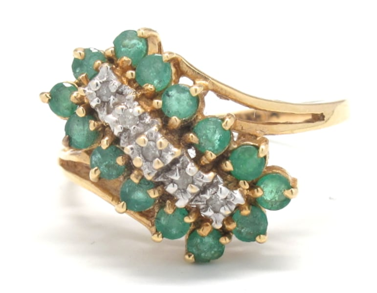 Ladies Emerald/Diamond Waterfall Ring 9347b05b-77ed-4d46-9310-6ca65d3bd157