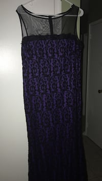 Purple and black illusion neckline sleeveless dress ladies Toronto, M9M 2V6