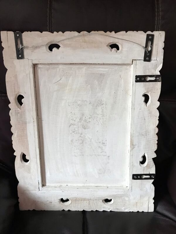 "White wooden framed wall mirror 19""x 15"" 3"