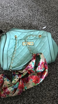 teal and pink floral leather crossbody bag El Paso, 79938