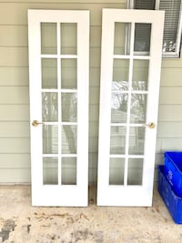 White Wood Doors w/Glass Panels - Set of Two