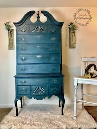 Refinished vintage queen anne highboy dresser w/9 drawers