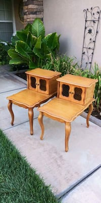 PAIR OF VINTAGE STAIR STEP END TABLES W/ WIRE DOOR Corona, 92881