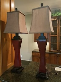 2 ceramic red lamps with silk shades Mooresville