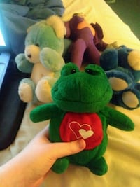 Green and Red frog plush toy