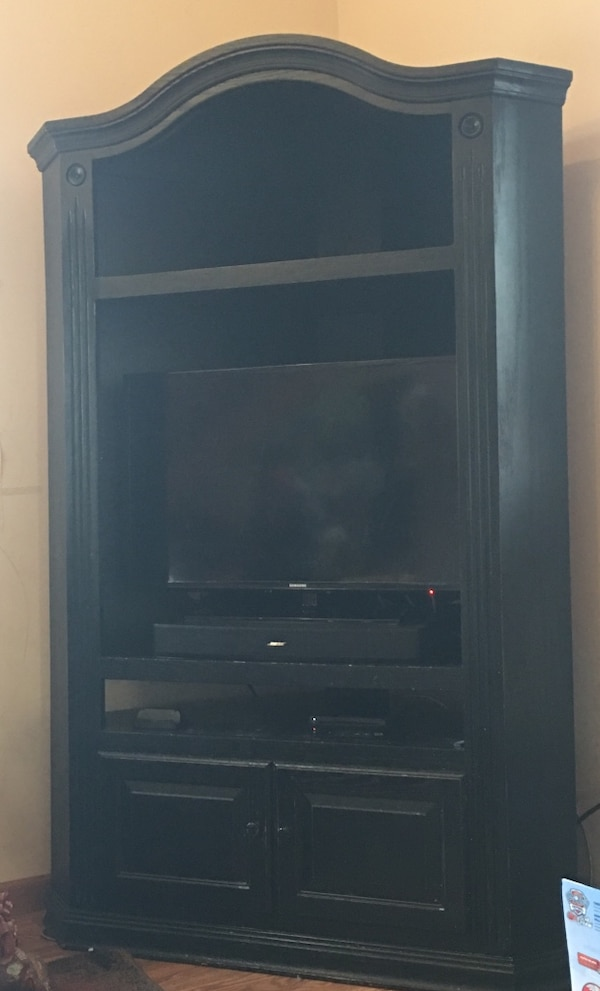 Lam Brothers Tall Black Solid Wood Corner Entertainment Center