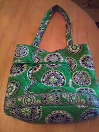 green, white and blue tote bag