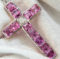 18KT GIA 10.41CT NATURAL PINK SAPPHIRE DIAMOND CROSS PENDANT NECKLACE New York