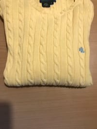 LAUREN RALPH LAUREN YELLOW CABLE KNIT  SWEATER SIZE SMALL