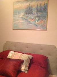 Woven green embossed king fabric headboard $45.00, picture $10.00 obo