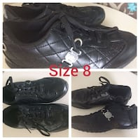 pair of quilted black leather lace-up sneakers photo collage