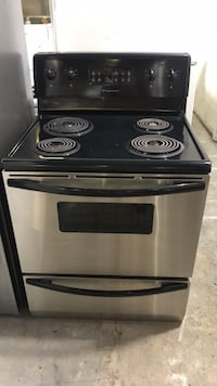 black and gray electric coil range oven Toronto, M9M