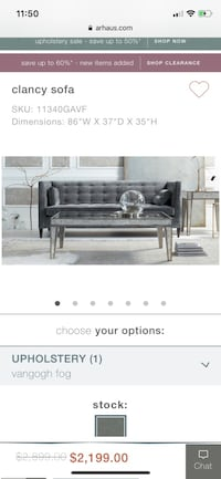 Arhaus Clancy sofas. $1950 each... Light grey.. Excellent condition.. Selling both two sofas $1950 each. 43 km