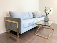 modern gold and velvet sofa--new Niagara Falls