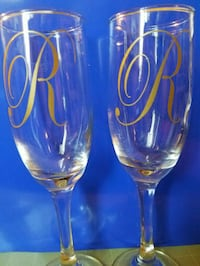 2 New Tall Monogrammed Champagne Glasses