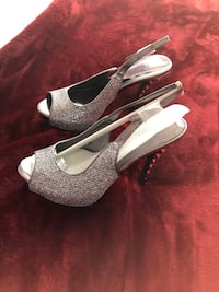 pair of gray leather peep toe platform stilettos Gainesville, 20155
