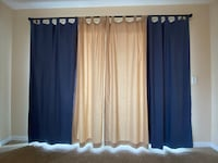 2 tan and 2 blue long curtains with rod Omaha, 68124
