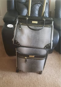 Gray-and-black snakeskin leather tote bag and luggage