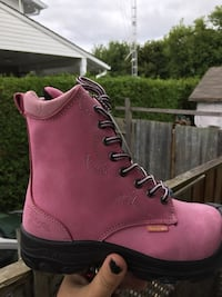 pair of pink Timberland work boots Gatineau, J8P 4G8