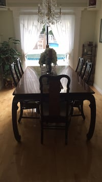 rectangular brown wooden table with six chairs dining set Surrey, V3W 8P7