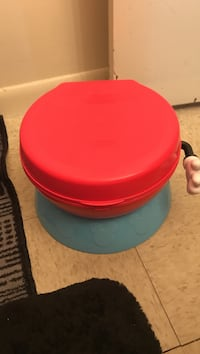 "Mickey mouse potty. says ""hip hip hooray"" when flushed. doubles as a step stool, also has a yellow removable insert to help transition to the big potty. Blacksburg, 24060"