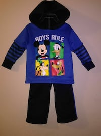 black and blue Boys Rule pullover hoodie