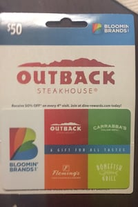 $50 gift card to outback