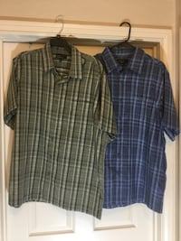 Two men's size large never worn button down plaid shirts by marc edwards , both for $8.00 North Richland Hills, 76182