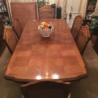 rectangular brown wooden table with six chairs dining set Sterling, 20166