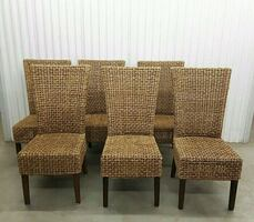 Set of 6 woven dining chairs