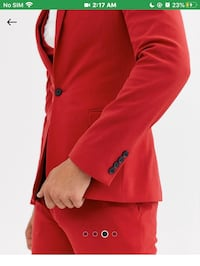 Red suit mens size 38 pants  size 46 Jacket negotiable or trade Brampton, L6Y 1K9