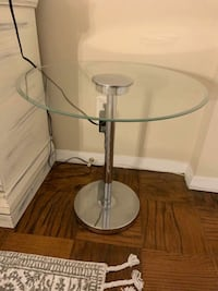 Round Glass Side Table or Nightstand