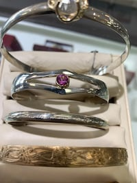 Sterling cuff w Synthetic Pink Sapphire  Yorktown, 23692