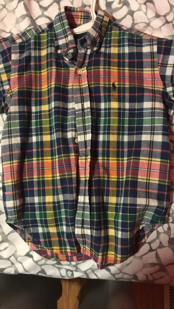 Black, white, and red plaid shorts