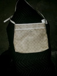 white and gray Coach leather crossbody bag Bryan, 77807