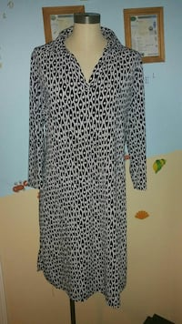 women's black and white long-sleeved button-up shirt dress