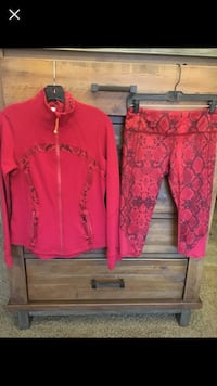 Lululemon Red and Black Snake Print Yoga Set. Jacket Size 10 Bottoms size 6. Sizes run a bit small. Excellent condition worn one time. Sold as set only.  Wenatchee, 98801