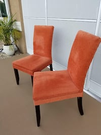 4 Beautiful Upholstered Parson Chairs in Tangerine Fabric Priced to Sell Ocala, 34476