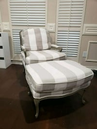 Stripe Upholstered Bergere Chair and Ottoman 1154 mi