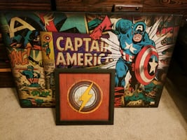 Captain America picture and the Flash symbol pictu
