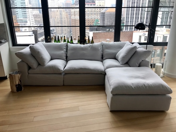 Restoration Hardware Cloud Modular Sectional Sofa In Light Gray Linen And 100 Feather Fill