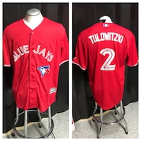 red Blue Jays button-up jersey shirt collage
