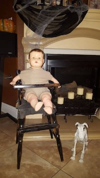 Antique Composition Doll and antique high chair