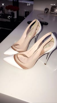 Pair of white leather pointed-toe pumps San Diego, 92110